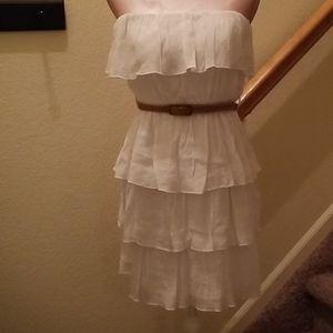 Ruffled White Summer Dress with Belt